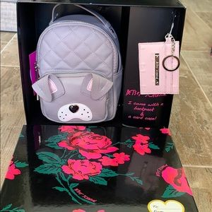 Betsey Johnson backpack and card case gift set
